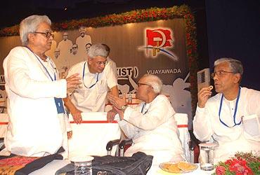 West Bengal's CPI-M boss Biman Bose, CPI-M General Secretary Prakash Karat, former Bengal chief minister Buddhadeb Bhattacharya and Tripura Chief Minister Manik Sarkar.