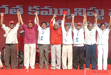 CPI-M leaders at the Vijayawada meeting