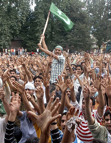 A Kashmiri youth at an anti-India protest