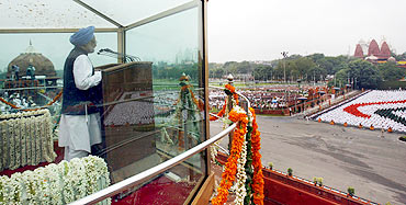 Prime Minister Manmohan Singh at the Red Fort