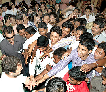 Students of  St Philomena's College with Rahul on Friday