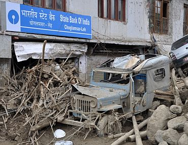 The State Bank of India branch at Choglunsar was destroyed