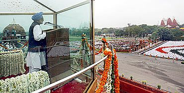 PM Dr Manmohan Singh addressing the nation on the eve of Independence Day on Sunday in New Delhi
