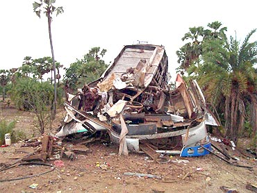 The wreckage of a passenger bus blown up by a landmine in Dantewada