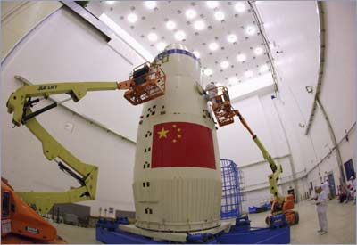The Shenzhou-7 manned spaceship is seen at the Jiuquan Satellite Launch Center, Gansu province of China