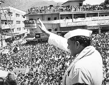 A file picture of Rajiv Gandhi addressing an election rally