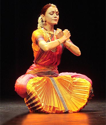 A Bharata Natyam danseuse performs in Chennai