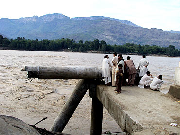 The flooding Swat river in Lower Dir, Pakistan