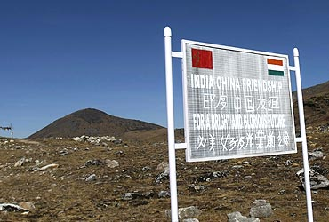 A signboard on the Indian side of the Indo-China border at Bumla