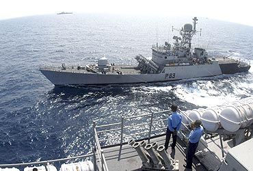 Indian naval warships take part in an exercise in the Bay of Bengal