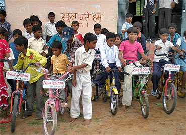 Aham Bhumika collects bicycles and small cycles for school-going children and Anganwadi centers