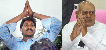 Andhra Pradesh Chief Minister K Rosaiah and Congress leader Jaganmohan Reddy