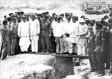 A file photograph of then Prime Minister Atal Bihari Vajpayee and Defence Minister George Fernandes at the site of the nuclear test