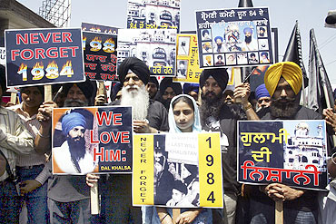 Activists during a rally to mark the 25th anniversary of Operation Blue Star