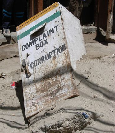 A complaint box that was destroyed during the cloudburst in Leh