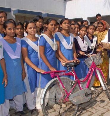 Schoolgirls in Bihar with their new bicycles, which were handed over by the state government
