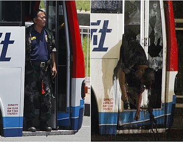 A combination photo shows former police officer Rolando Mendoza, who took a tourist bus hostage, standing at the door of the vehicle (L) and after he was shot dead