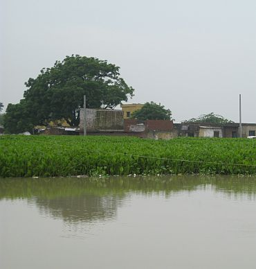 A flooded Asmanpur village