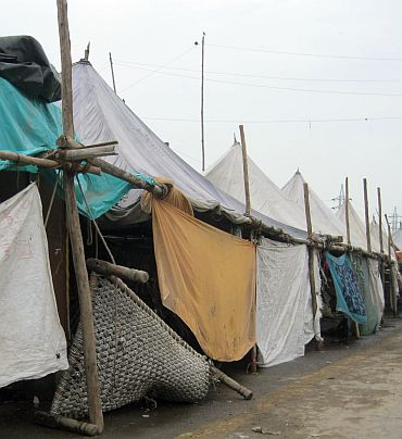 Makeshift camps for flood victims