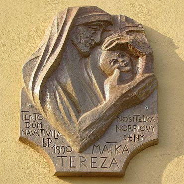 Memorial plaque dedicated to Mother Teresa in the Czech Republic