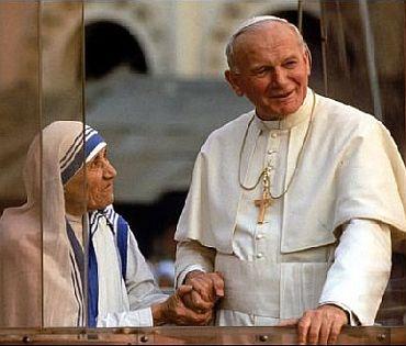 Mother Teresa with John Paul II