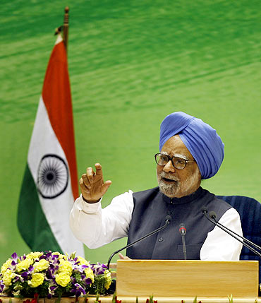 Prime Minister Manmohan Singh at a news conference in New Delhi