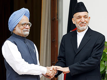Dr Singh with Afghanistan President Hamid Karzai