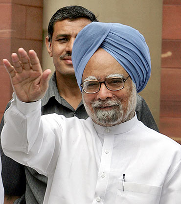 Dr Singh arrives in Parliament on the opening day of the Budget session, July 2, 2009