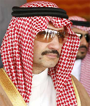 Saudi Prince A Waleed bin Talal attends a ceremony in Yemen