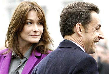 French President Nicholas Sarkozy with First Lady Carla Bruni