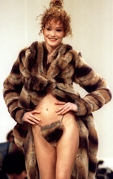 Carla Bruni models a  Vivienne Westwood creation