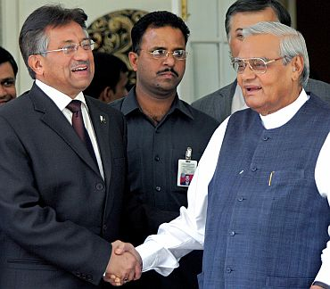 Former PM Vajpayee with Parvez Musharraf
