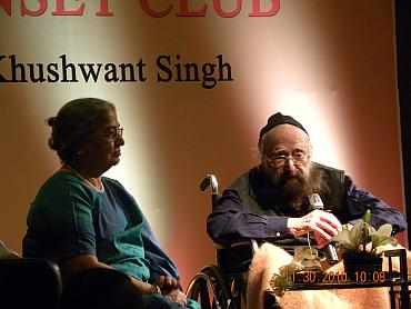 Mrs Kaur with Khushwant Singh at the function