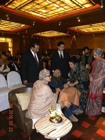 Khushwant Singh mingles with guests at the event