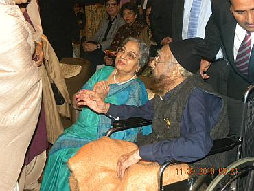 Khushwant Singh and Gursharan Kaur greet guests