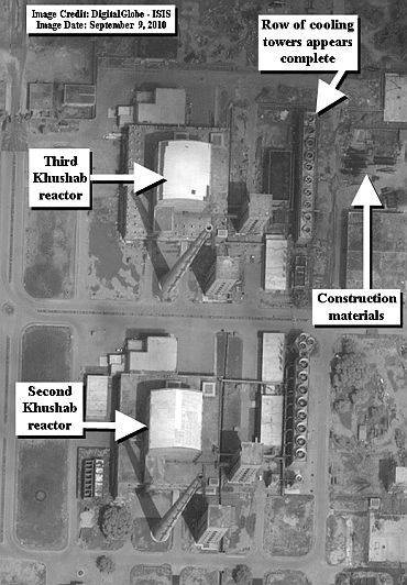 DigitalGlobe satellite image from September 9, 2010 of the Khushab nuclear site in Pakistan. The third heavy water reactor can be seen along with a row of mechanical draft cooling towers that appears complete. The second heavy reactor can be seen directly below the third reactor.