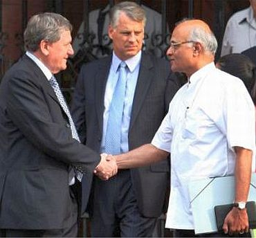 File photo shows Holbrooke with SS Menon in New Delhi