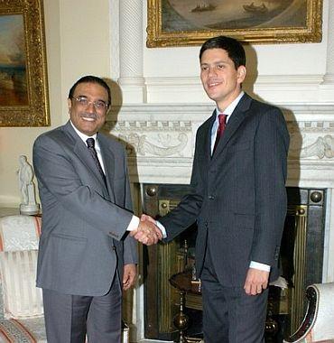 Zardari with David Miliband