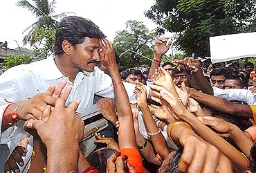 Jaganmohan Reddy with his supporters