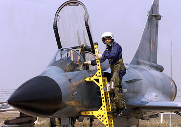 An Indian Air Force pilot in a French-made Mirage 2000 during a joint exercise in Gwalior in 2003.