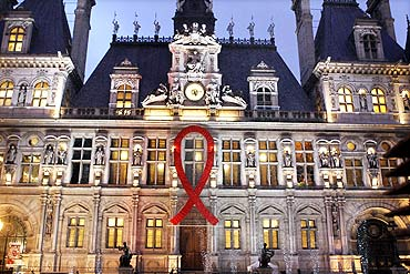 City Hall, Paris, on World AIDS Day, December 1, 2010