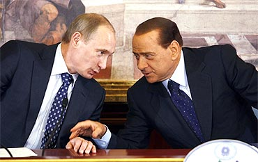 Italy Prime Minister Silvio Berlusconi with Russian Prime Minister Vladimir Putin