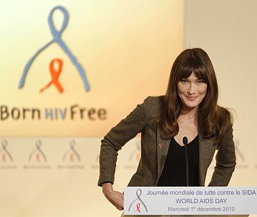 Carla speaking during a news conference for World AIDS Day at the Marigny hotel in Paris on December 1, 2010