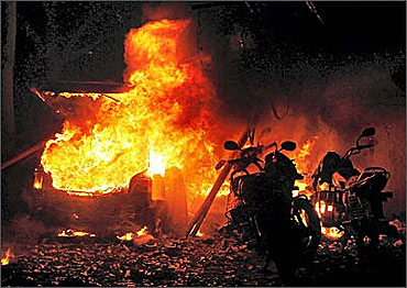 Vehicles on fire at the scene of the blast in Ahmedabad, which was a part of operation BAD