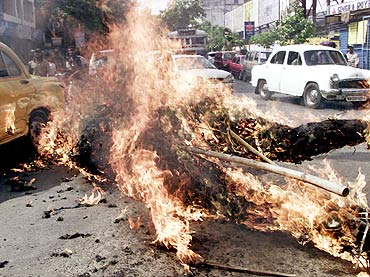 An effigy representing terrorism burns during a protest
