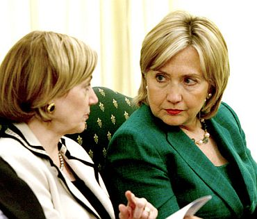 Former US Ambassador to Pakistan Anne Patterson with Secretary of State Hillary Clinton