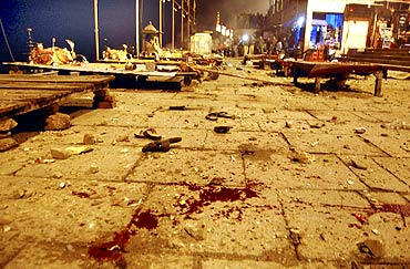 A view of the site of the blast at a Varanasi Ghat.