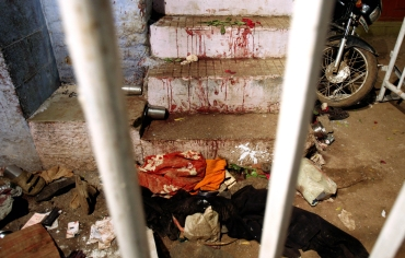 A blast victim's belongings lie at the blast site inside a mosque in Malegaon