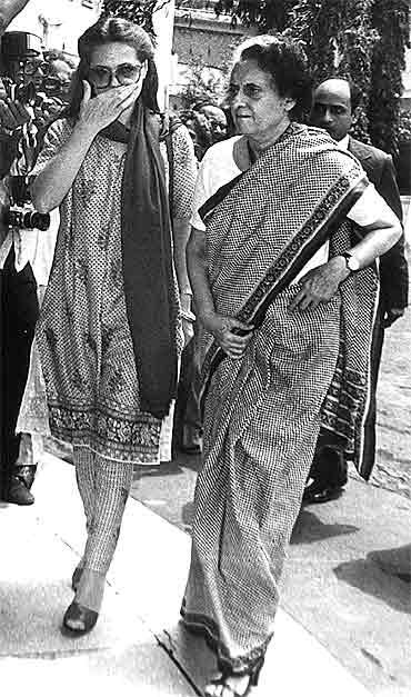 Sonia Gandhi with Indira Gandhi