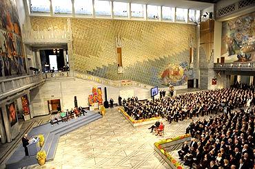 Norwegian Nobel Committee chairman Thorbjorn Jaglandspeaks during the Nobel Peace Prize ceremony